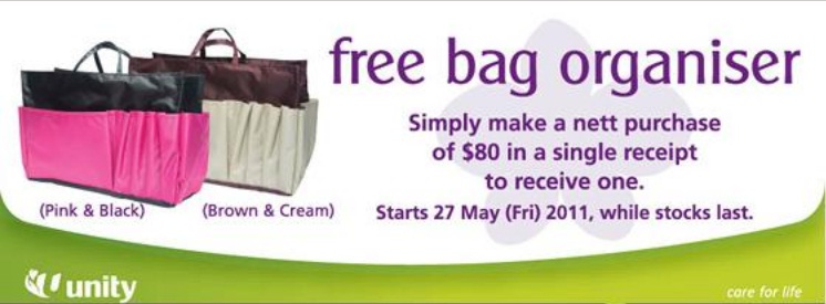 free bag organiser by unity Promo GWP   Bag Organiser by Unity Singapore