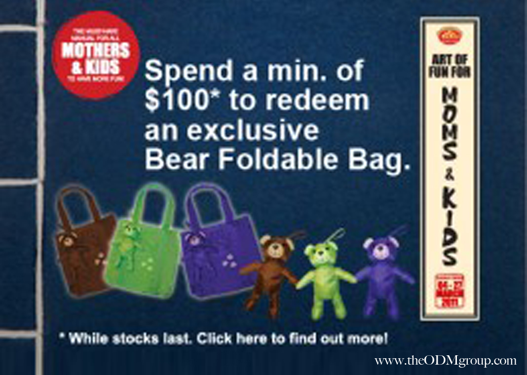 Promotional Bear in a Foldable Bag   Singapore GWP