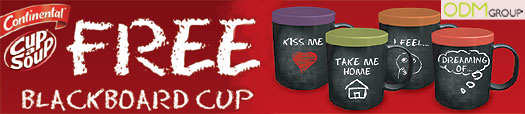 Gift with Purchase Promotion Blackboard Cup2 Promotional Blackboard Mugs   Unilever GWP Campaign