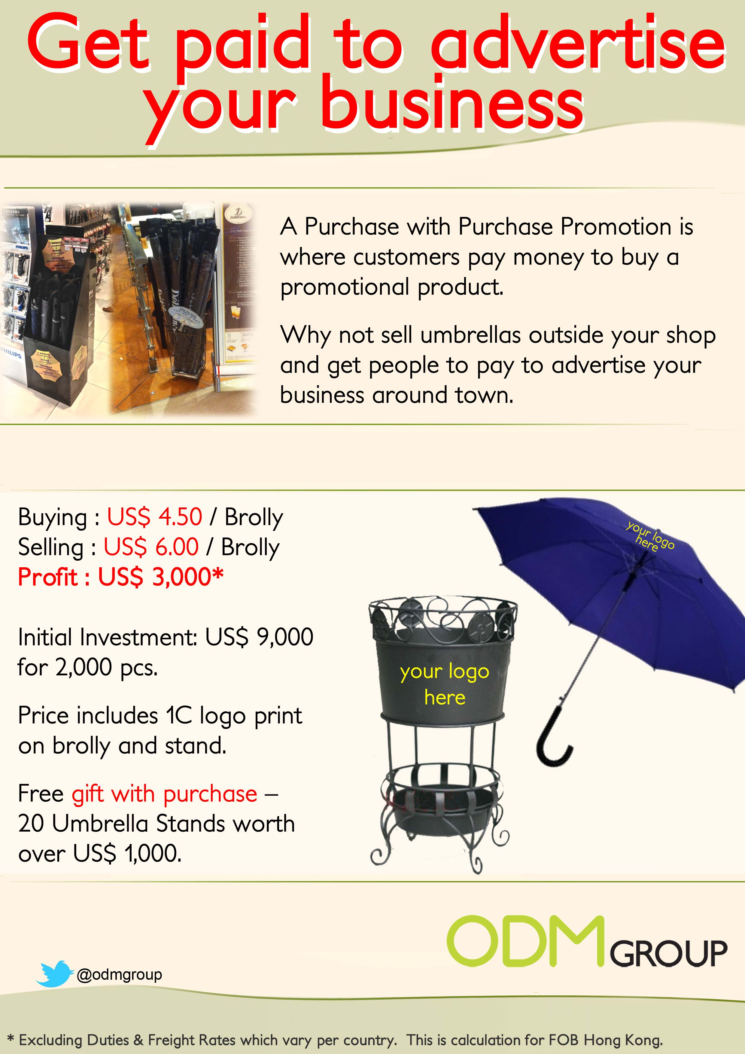 Promotional Umbrellas Summer Offer Summer Offer for Winter Brollys. Get Paid to Market your Business.