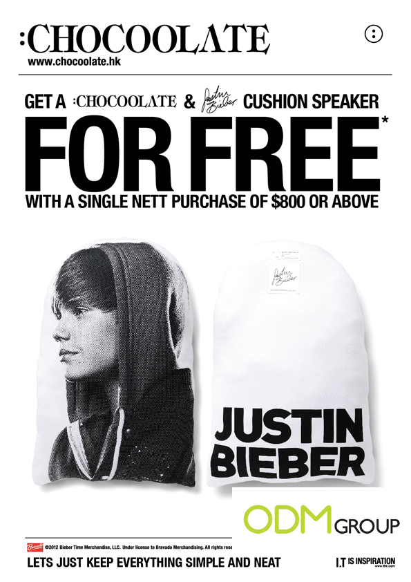 Incentive Product Hong Kong Justin Bieber Cushion Speaker by Chocoolate :CHOCOOLATE Incentive Product   Justin Bieber Cushion Speaker in HK