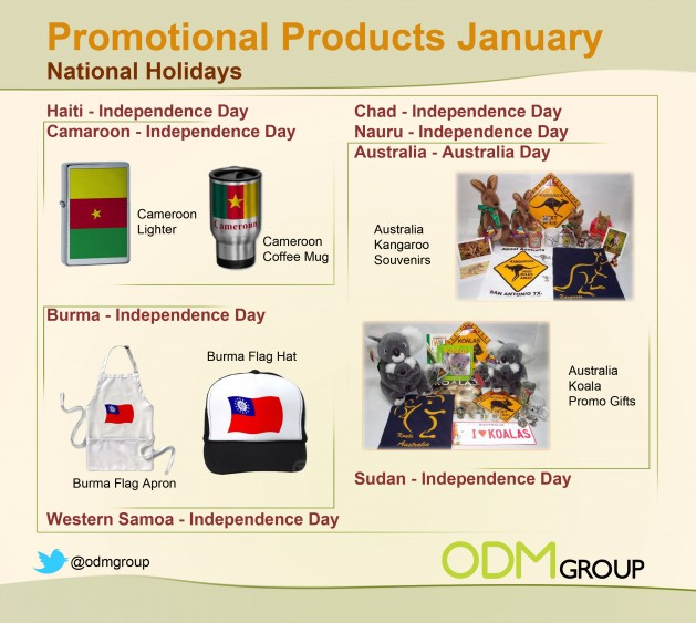 Jan holiday National Days 629x563 Promo Gift Ideas for January