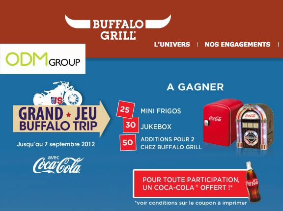 Promotional Gift France Buffalo Grill Coca Cola Fridge Jukebox Buffalo Grill & Coca Cola Co Branded Offer