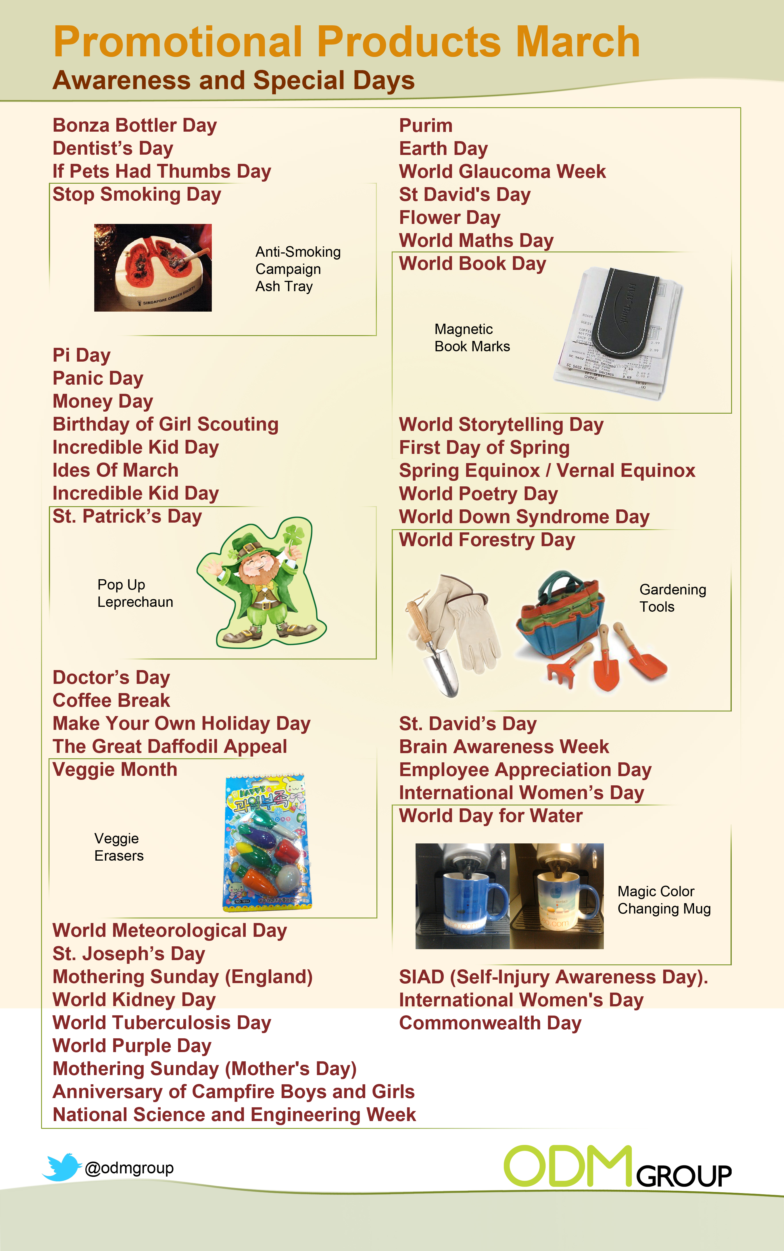 March holiday Awareness and Special Days Promo Gift Ideas for March